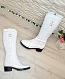 Сапоги женские кожаные белые на невысоком каблуке, фото 4