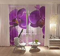 Тюль Рожеві орхідеї (18475t)