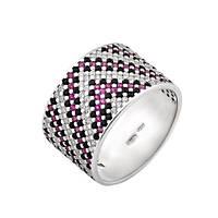 Серебряное кольцо широкий орнамент розово-черным фианитом