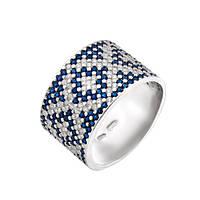 Серебряное кольцо широкий орнамент синие ромбы