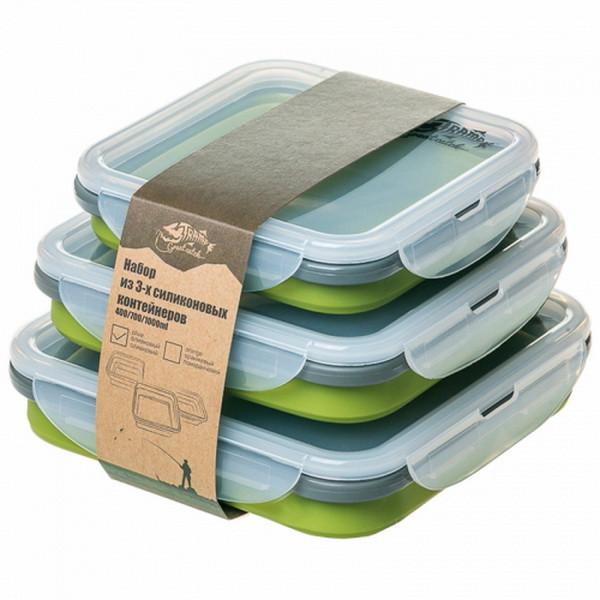 Набор контейнеров складных Tramp TRC-089 (0.4л, 0.7л, 1.0л), зеленый
