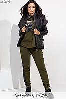 Стильный теплый спортивный костюм на флисе с жилеткой на синтепоне с 48 по 54 размер