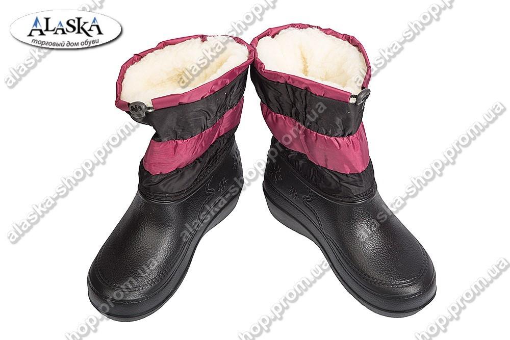 Женские дутики бордово-черные (Код:ТС снеж)