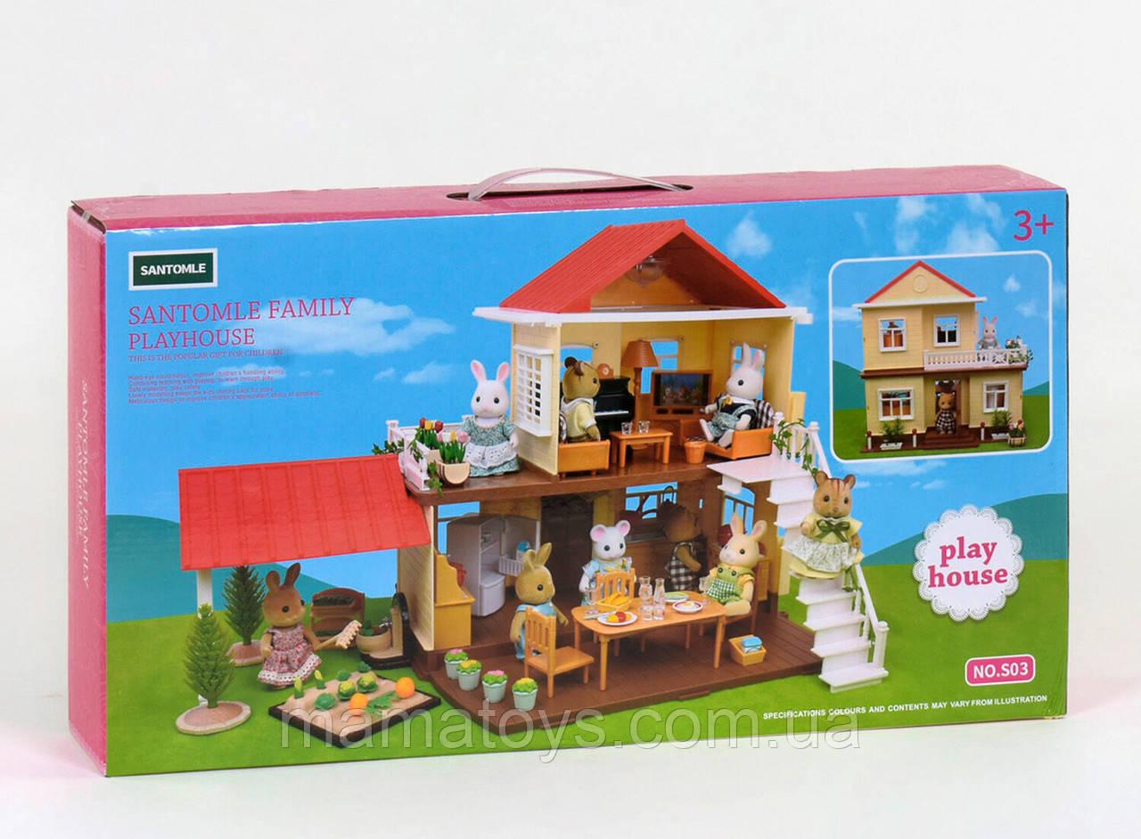 Кукольный Домик S 03 Счастливая семья с подсветкой