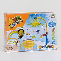 """Карусель (мобиль) на кроватку с ночником-проектором детская музыкальная , на батарейках, """"пчелки"""" 81001"""