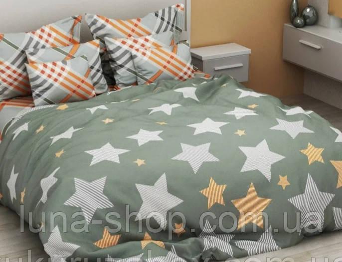 Постельный комплект Оливковый со звездами,  (бязь)