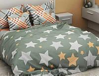 Постільний комплект Оливковий з зірками, (бязь)