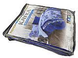 Махровое постельное бельё двухстороннее Синеглазка Двуспальное евро с простыней на резинке Сине - голубое, фото 3