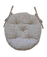 Круглая подушка на стул Bella Серая клеточка