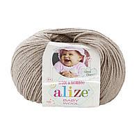 Детская пряжа (40%-шерсть, 20%-бамбук, 40%-акрил, 50 г/175 м) Alize Baby Wool 167(беж)