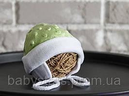 Шапочки для новорожденных из плюша, салатового цвета