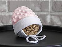 Плюшевая шапочка для новорожденной девочки, розового цвета, фото 1