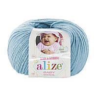 Детская пряжа (40%-шерсть, 20%-бамбук, 40%-акрил, 50 г/175 м) Alize Baby Wool 128(небесно-голубой)