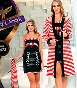 Комплект халат и ночная рубашка качество лайкра Night Angel №7673