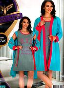 Комплект халат и ночная рубашка качество лайкра Night Angel №7645