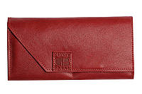 Кожаный кошелек красного цвета, гладкая кожа, вместительный, на магните с отделами для карточек