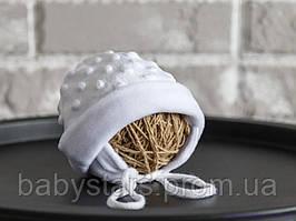Детская шапочка из плюша, белого цвета