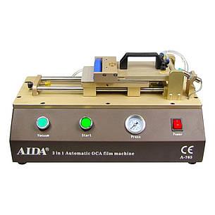 Ламинатор OCA и поляризационной плёнки A-765 с пневмоприводом передвижения рабочей платформы (10 х 16 см) и встроенным компрессором, фото 2