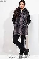 Шикарный женский костюм тройка с лампасами и меховым жилетом с кожаными элементами с 48 по 58 размер, фото 1