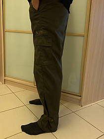 Штаны карго хаки  на манжетах с боковыми карманами