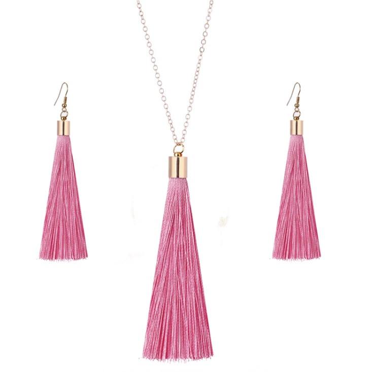 """Комплект бижутерии """"Кисти"""" подвеска и серьги, цвет розовый"""
