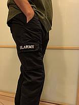 Чёрные штаны карго с боковыми карманами на манжетах Army, фото 2
