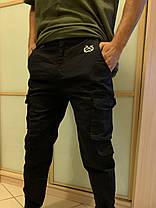 Чёрные штаны карго с боковыми карманами на манжетах Army, фото 3