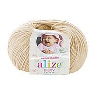 Детская пряжа (40%-шерсть, 20%-бамбук, 40%-акрил, 50 г/175 м) Alize Baby Wool 310(бежевый)