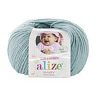 Детская пряжа (40%-шерсть, 20%-бамбук, 40%-акрил, 50 г/175 м) Alize Baby Wool 114(мята)