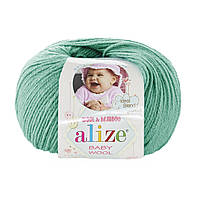 Детская пряжа (40%-шерсть, 20%-бамбук, 40%-акрил, 50 г/175 м) Alize Baby Wool 610(изумруд)