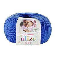 Детская пряжа (40%-шерсть, 20%-бамбук, 40%-акрил, 50 г/175 м) Alize Baby Wool 141(василёк)