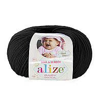 Детская пряжа (40%-шерсть, 20%-бамбук, 40%-акрил, 50 г/175 м) Alize Baby Wool 60(чёрный)