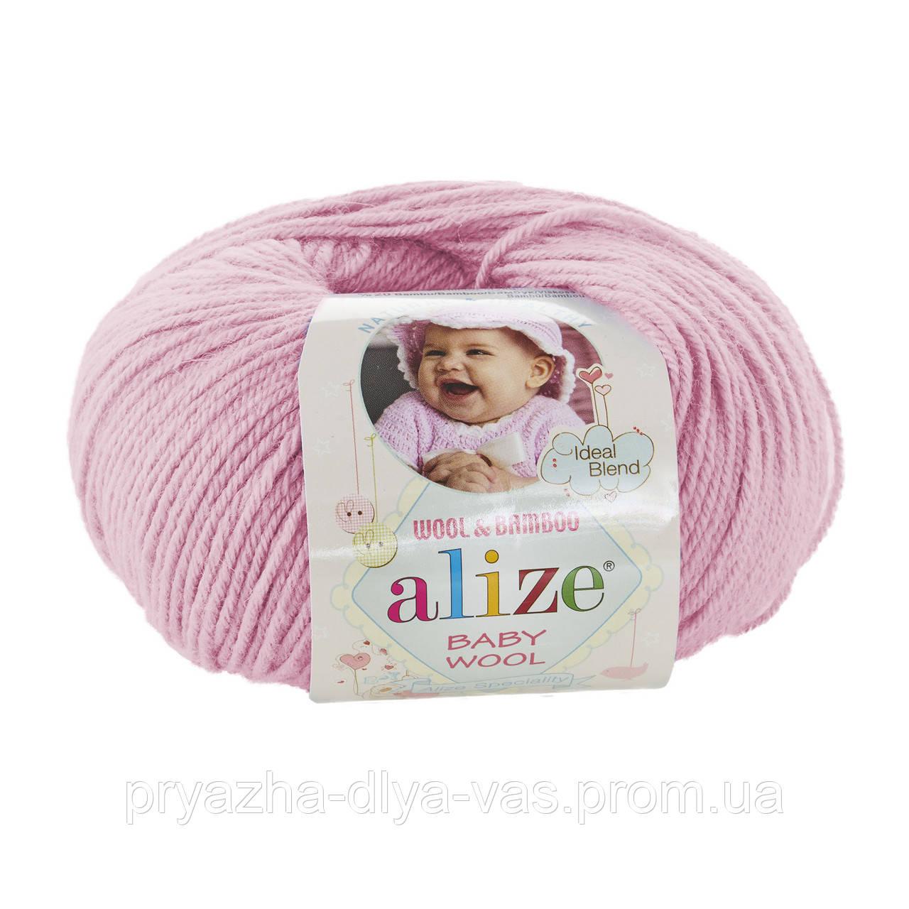 Детская пряжа (40%-шерсть, 20%-бамбук, 40%-акрил, 50 г/175 м) Alize Baby Wool 185(светло-розовый)
