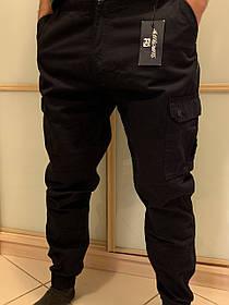 Чёрные штаны карго с боковыми карманами на манжетах Dustbin