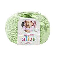 Детская пряжа (40%-шерсть, 20%-бамбук, 40%-акрил, 50 г/175 м) Alize Baby Wool 41(ментол)