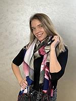 """Шарф жіночий брендовий  """"абстракція"""" , 180*70см, бежевий, рожевий, синій, Eyfel, Туреччина"""