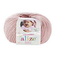 Детская пряжа (40%-шерсть, 20%-бамбук, 40%-акрил, 50 г/175 м) Alize Baby Wool 161(пудра)