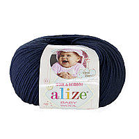 Детская пряжа (40%-шерсть, 20%-бамбук, 40%-акрил, 50 г/175 м) Alize Baby Wool 58(тёмно-синий)