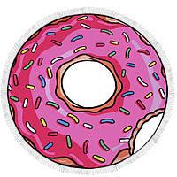 Пляжная 3D подстилка Пончик розовая, размер 140х140см, Пляжные подстилки, Коврик для пляжа, Подстилки, Покрывало