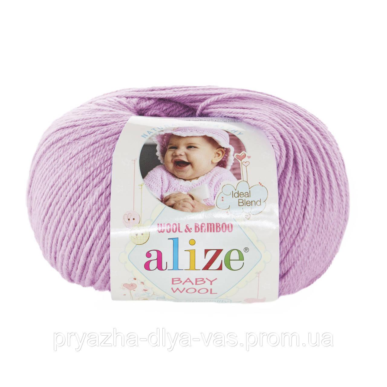 Детская пряжа (40%-шерсть, 20%-бамбук, 40%-акрил, 50 г/175 м) Alize Baby Wool 672(багряник)