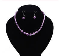 """Комплект бижутерии """"Жемчуг"""" ожерелье и серьги, цвет фиолетовый"""