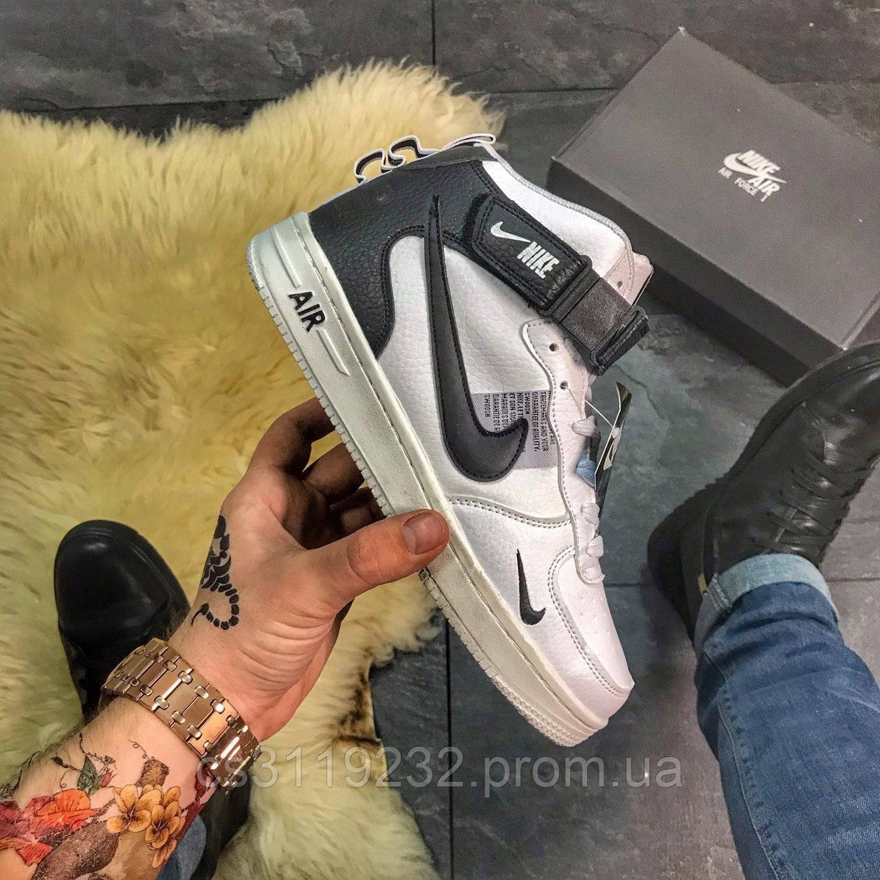 Чоловічі зимові кросівки Nike Air Force High (хутро) (білі)