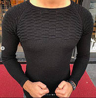Стильный мужской молодежный джемпер вязаный черный (Турция) - S, XL