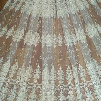 Тюль в зал белая с вышивкой