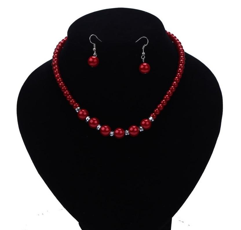 """Комплект бижутерии """"Жемчуг"""" ожерелье и серьги, цвет красный"""