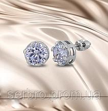 Сережки гвоздики у сріблі з круглим цирконом Коле