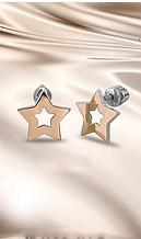Сережки гвоздики з золотом в сріблі Зірочки