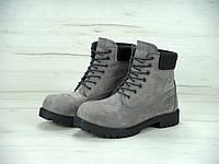 Зимние женские ботинки Timberland 6 inch Winter/ Тимберленд с натуральным мехом, серые