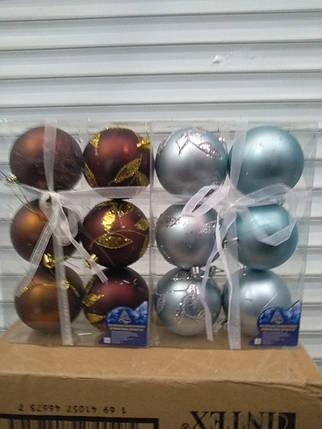 Елочные шары 6 шт. в упаковке ( диаметр 8 см ) микс, фото 2