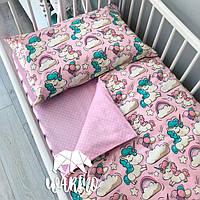 Детское постельное бельё в кроватку Warmo™ РОЗОВЫЕ ЕДИНОРОГИ